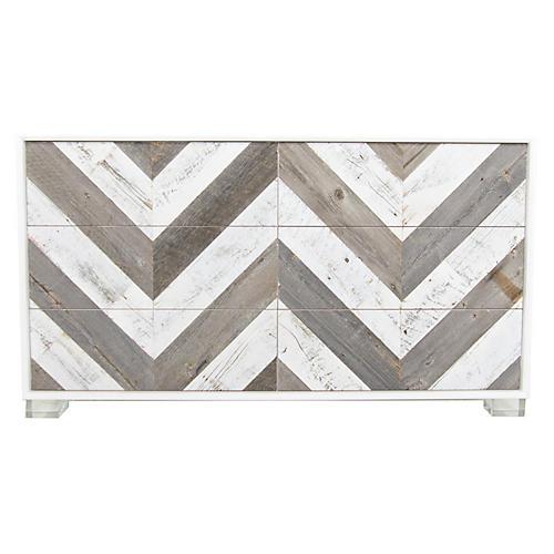 Cooladi Dresser, White Chevron