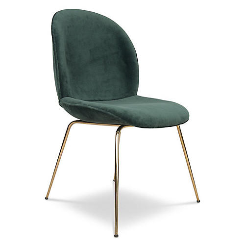 Hank Side Chair, Green Velvet