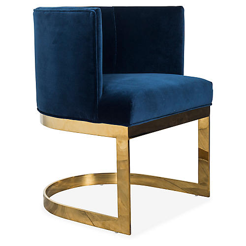 Pietro Armchair, Blue Velvet