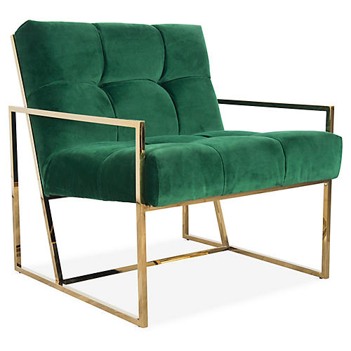 Gale Accent Chair, Green Velvet