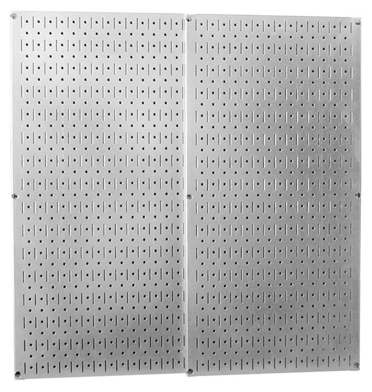 S/2 Metal Pegboards, Silver