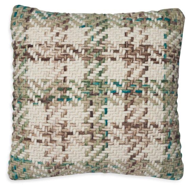 Plaid 20x20 Cotton-Blend Pillow, Blue
