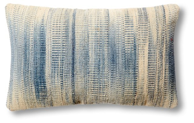Dip-Dye 14x22 Wool-Blend Pillow, Blue
