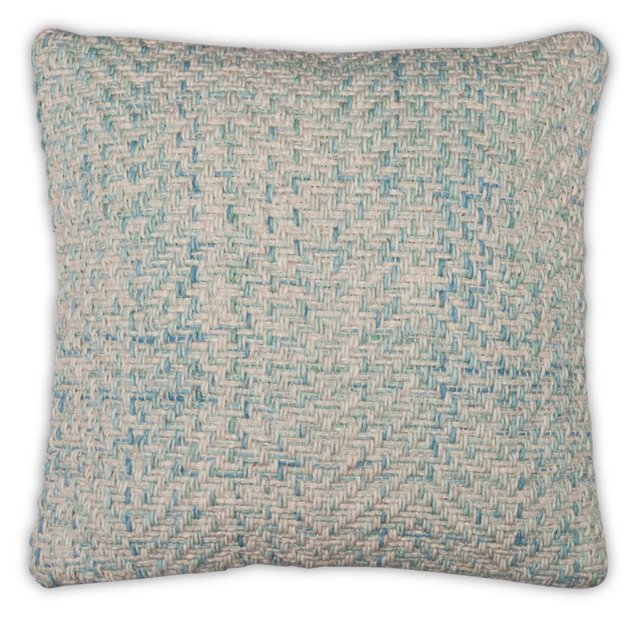 Chevron 20x20 Wool-Blended Pillow, Blue