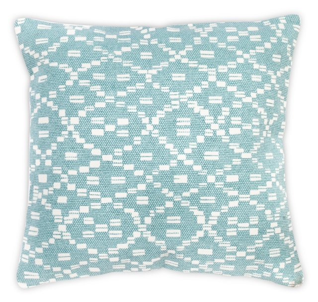 Diamond 20x20 Cotton Pillow, Teal
