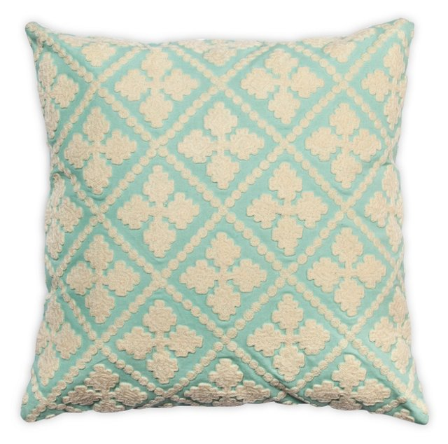 Quatre 20x20 Cotton-Blend Pillow, Teal
