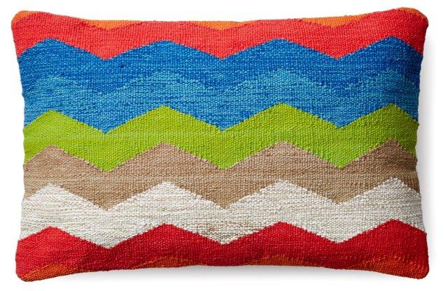 Chevron 14x22 Cotton Pillow, Multi