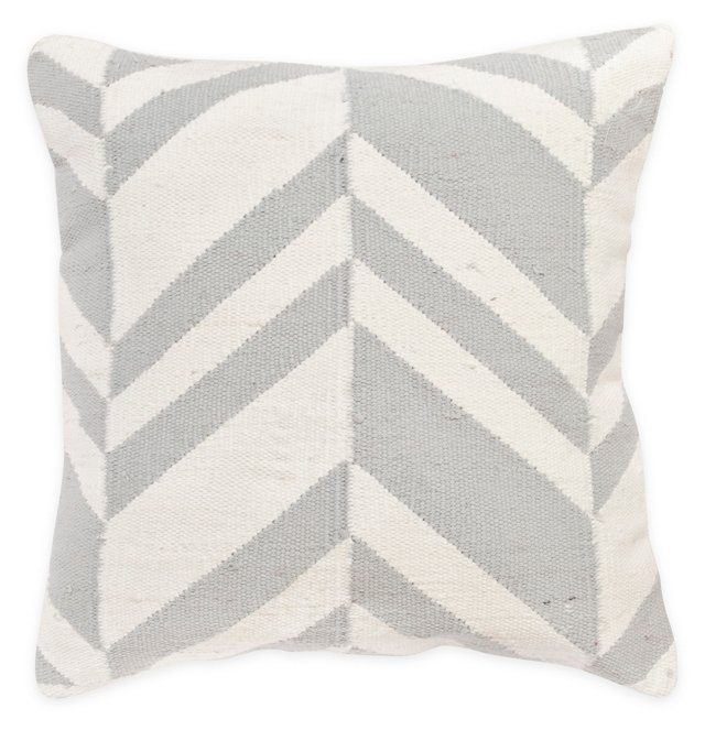 Variegated 20x20 Cotton Pillow, Gray