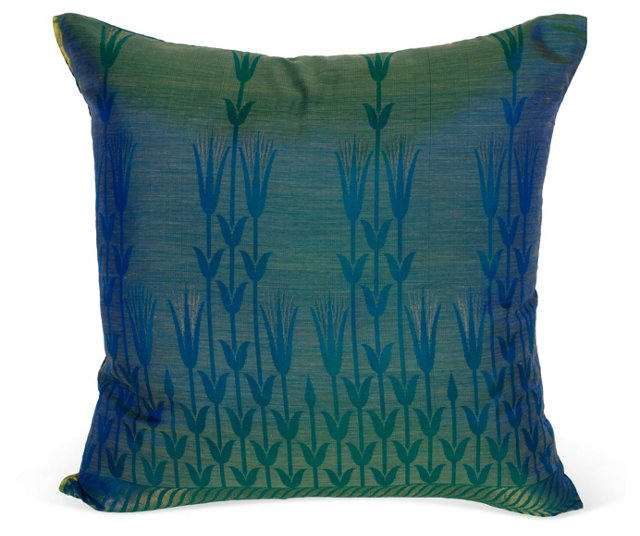 Blue/Green Yellow Floral Pillow I