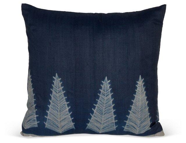 Blue & Gray Small Tree Pillow II