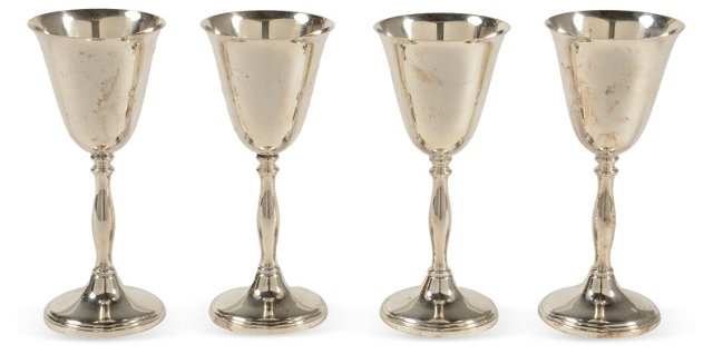 English Silver Goblets, Set of 4