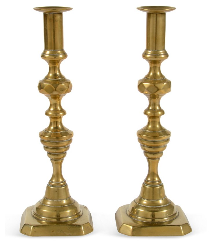 Large Victorian Candlesticks, Pair