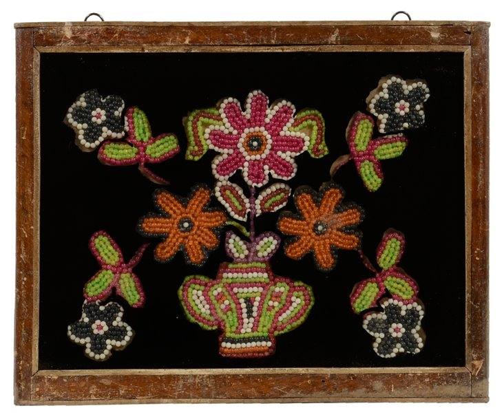 Bead & Painted Glass Indian Painting