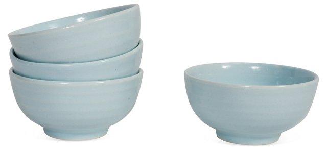 S/4 Petite Ceramic Bowls, Blue