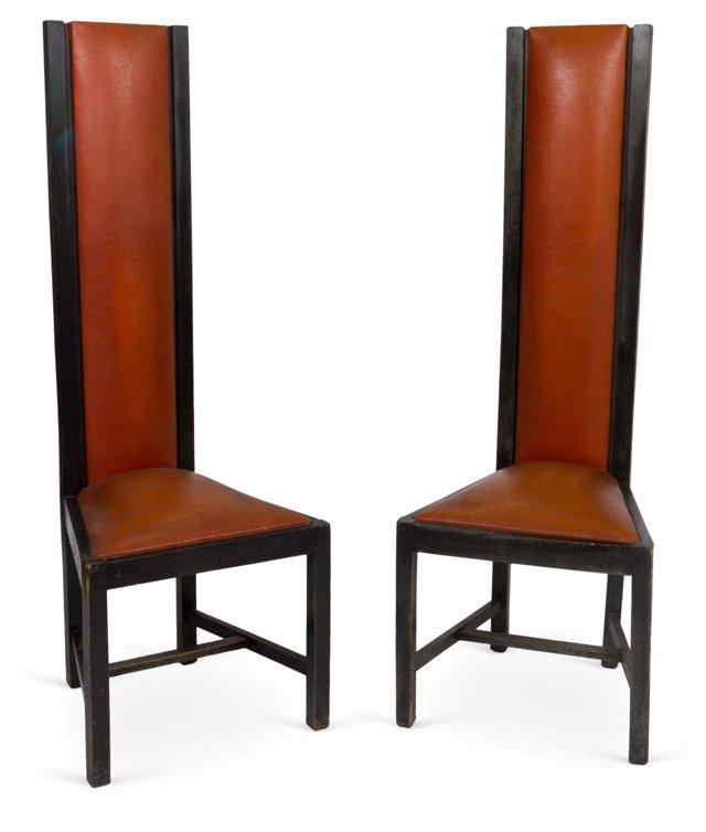 High-Back Chairs, Pair