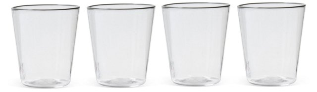 Flared Water Glasses, Gray, S/4