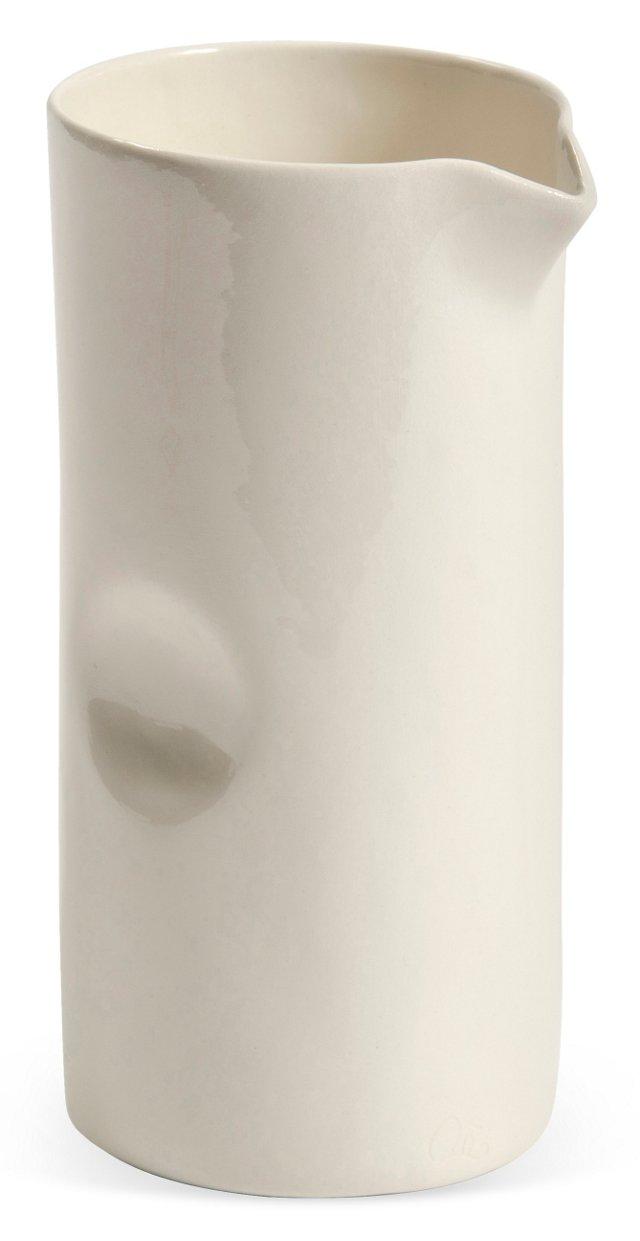 White Ceramic Thumbprint Pitcher