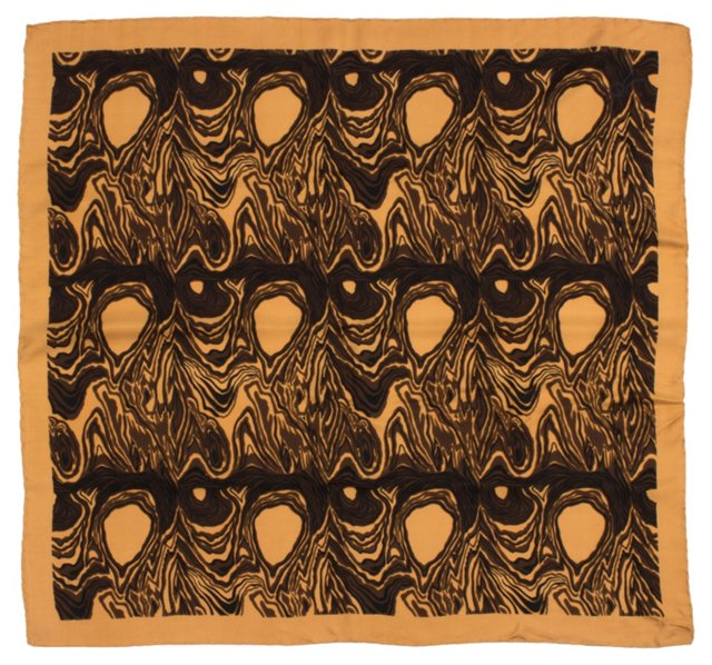 Tan & Black Patterned Scarf