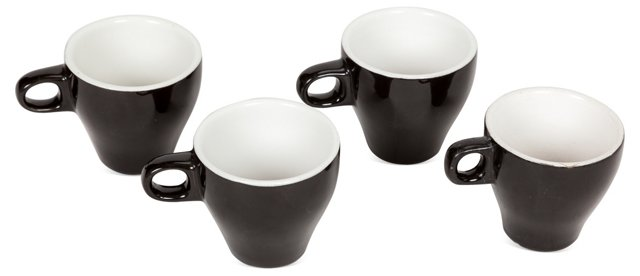 Black Espresso Cups, Set of 4