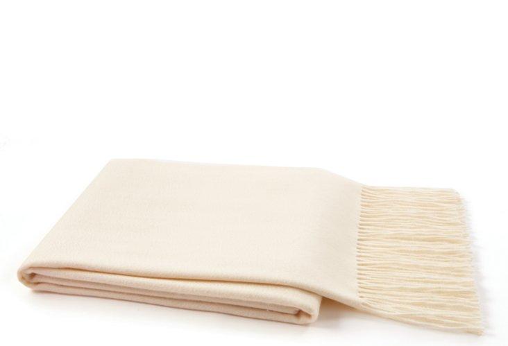 Fringed Cashmere Throw, Cream