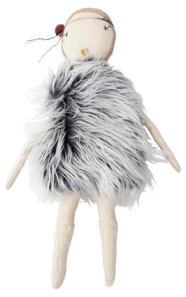 Jess Brown Rag Doll, Fur Dress