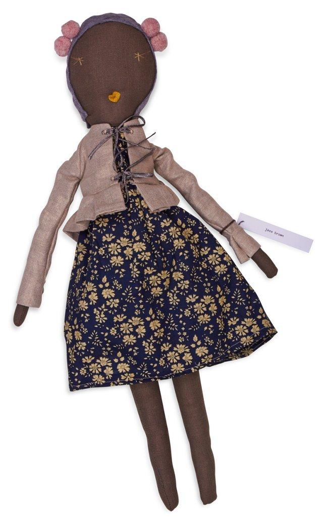 Jess Brown Rag Doll, Liberty Dress