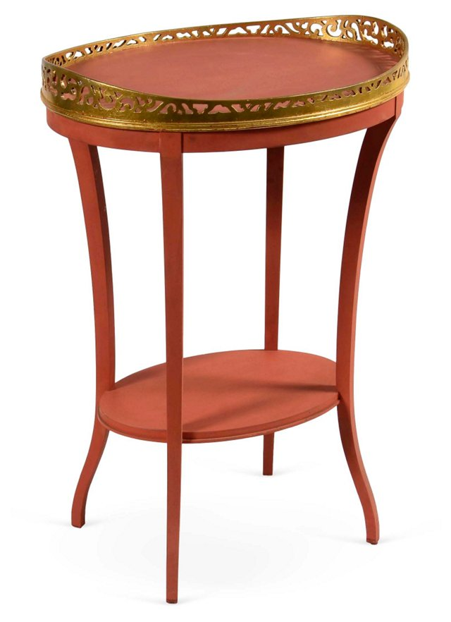 Red & Gold Side Table