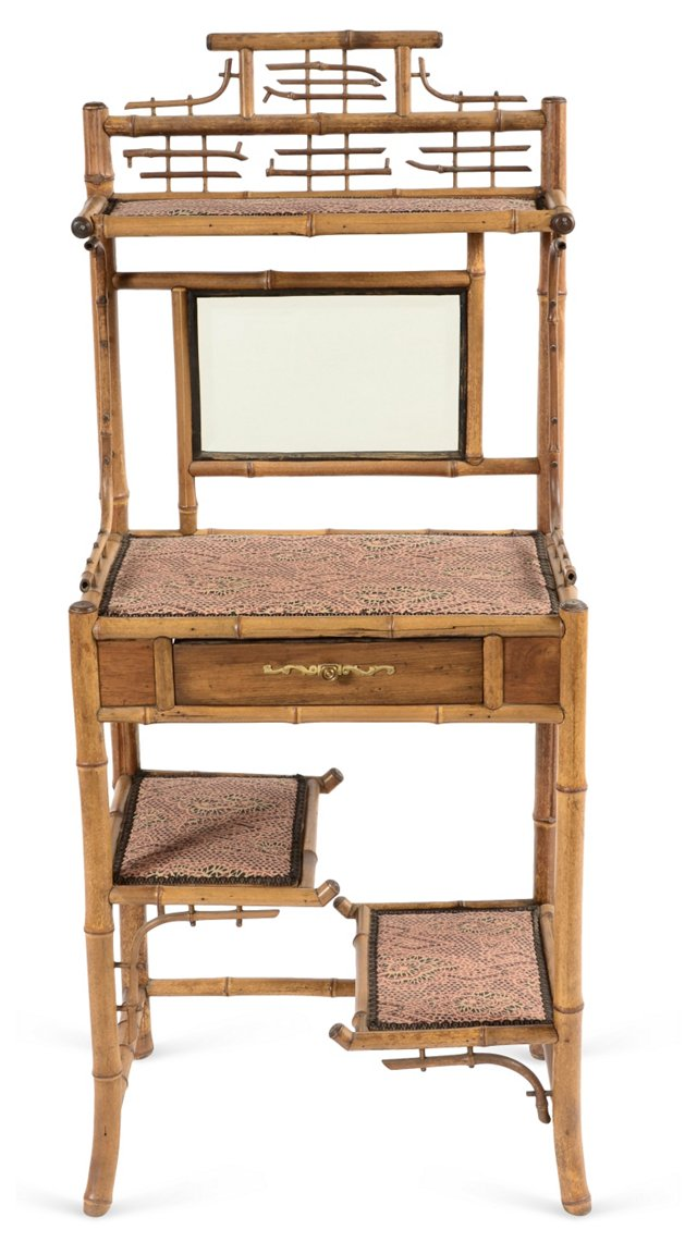 19th-C. Bamboo Dressing Stand