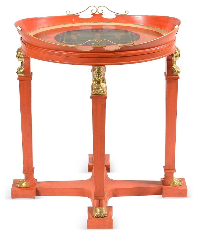 Red Neoclassical-Style Tray on Stand