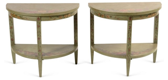 Green Painted Tables, Pair