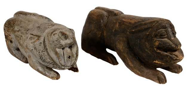 Tribal Animal Carvings, Pair