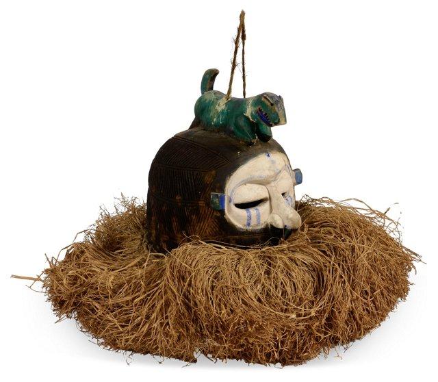 Carved Head w/ Raffia