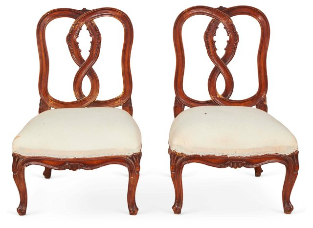 Muslin-Covered Slipper Chairs, Pair