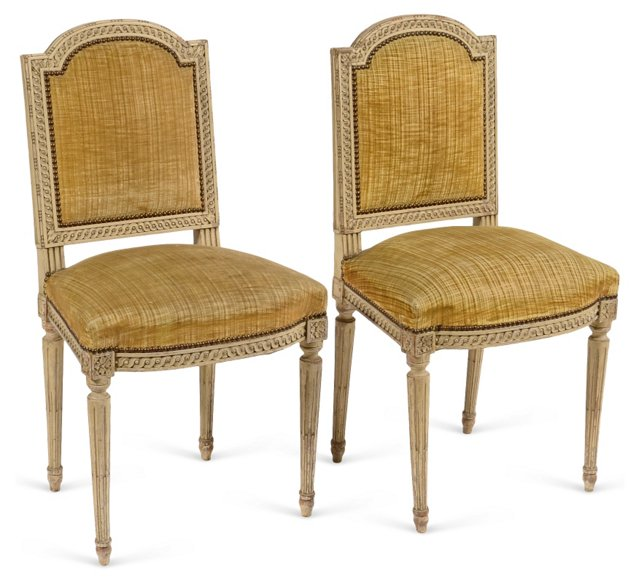 Louis XVI-Style Painted Chairs, Pair