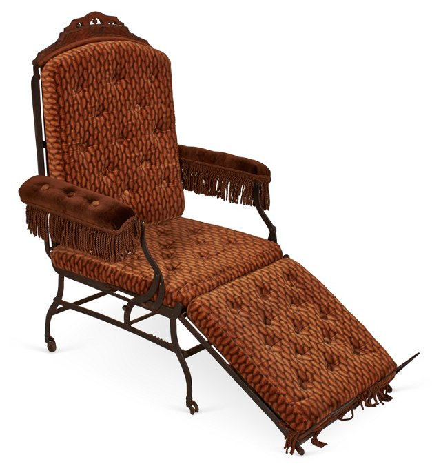 19th-C. Metal Folding Chaise