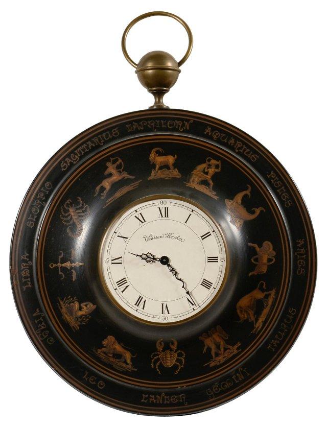 Zodiac Clock, Black/Ocher