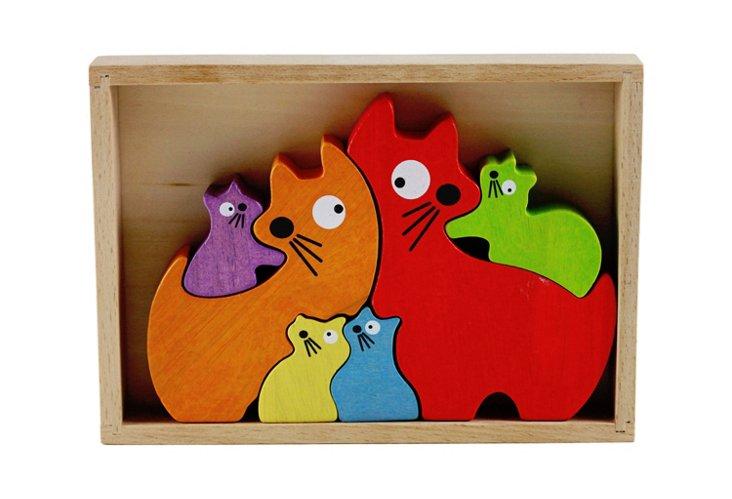 Rubberwood Cat Family Stencil & Puzzle