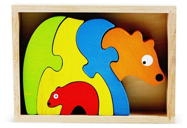 Rubberwood Bear Family Stencil & Puzzle