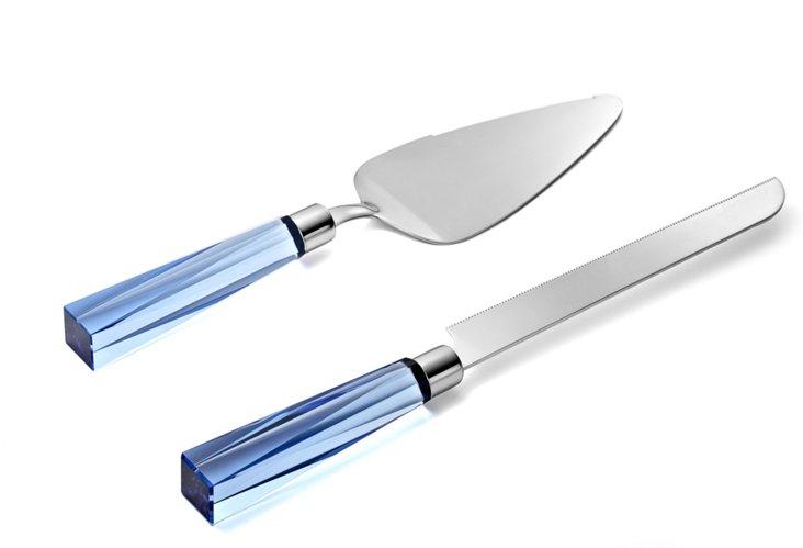 Cake Knife & Server Set, Cobalt