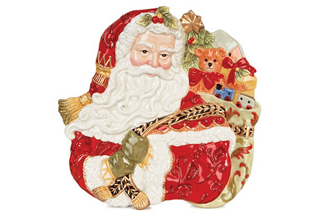 Damask Holiday Santa Face Canapé Plate