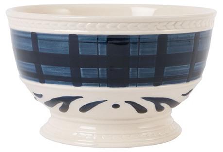S/4 Bristol Indigo Tartan Soup Bowls