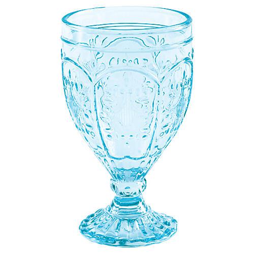 S/4 Trestle Goblets, Aqua