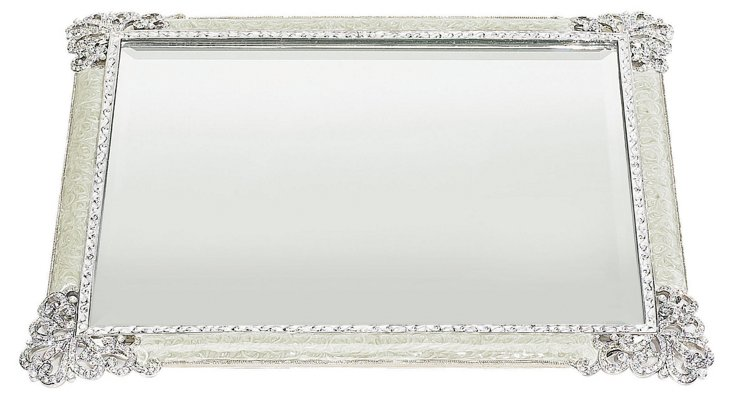 Crystal Elegance Beveled Mirror Tray