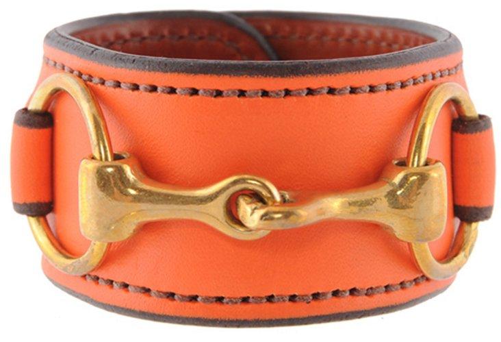 Brass Bit Leather Cuff, Orange