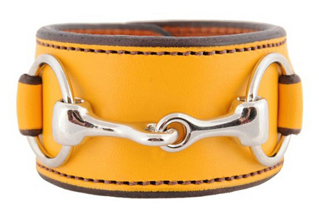 Nickel Bit Leather Cuff, Yellow