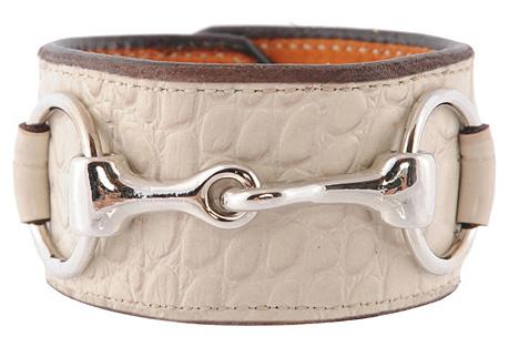 Nickel Bit Croc Leather Cuff, Cream