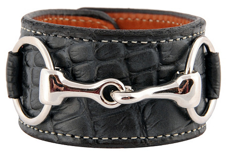 Nickel Bit Croc Leather Cuff, Charcoal
