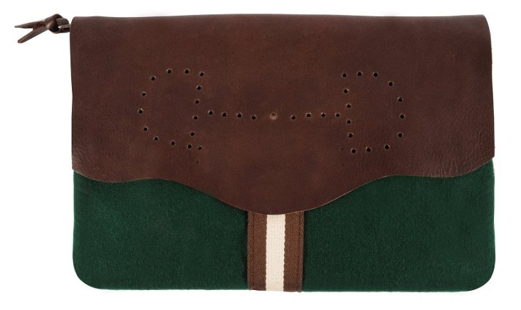 Leather/Wool Lucy Clutch, Hunter Green