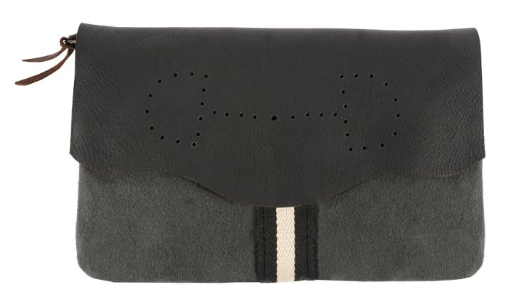 Leather/Wool Lucy Clutch, Charcoal