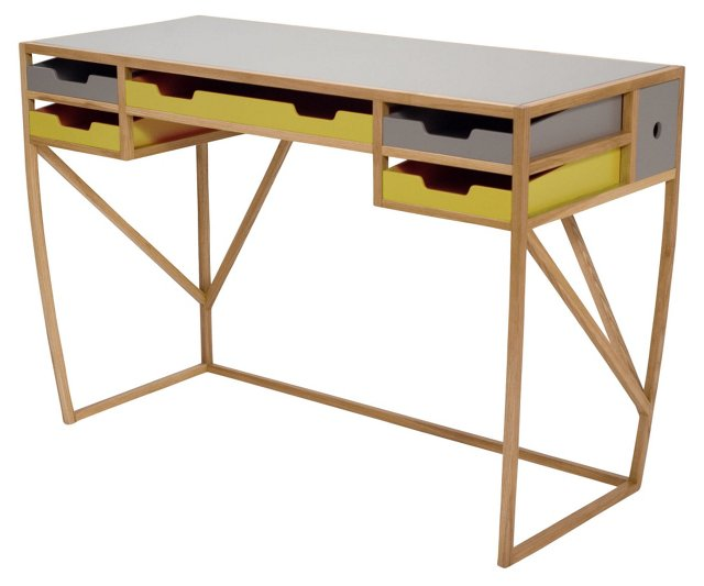 Inbox/Outbox Desk, Golden Yellow
